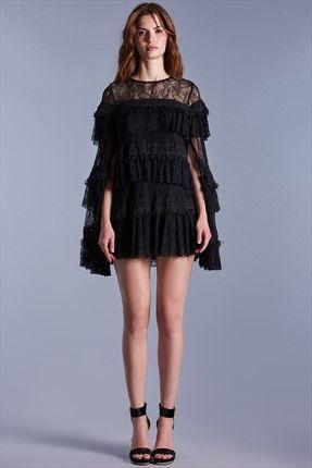 DEMORE Siyah Dantel Elbise