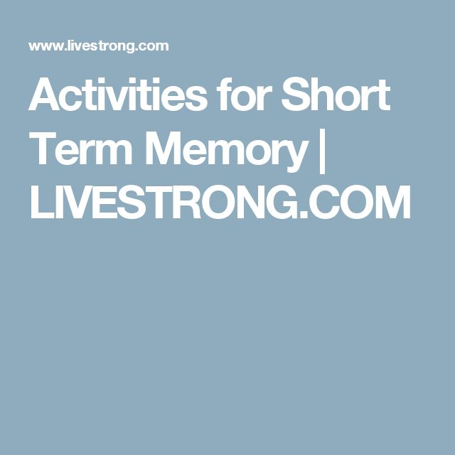 Activities for Short Term Memory | LIVESTRONG.COM