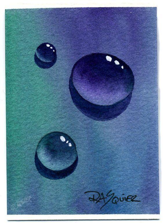 Water Drops aquarelle originale peinture ACEO Rita par Squier