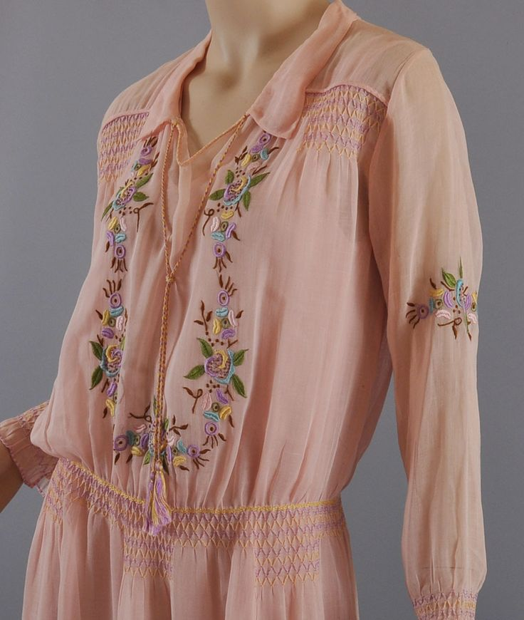 1920's Dress // Vintage 20s Embroidered Peasant Dress & Slip from mairemcleod on Ruby Lane