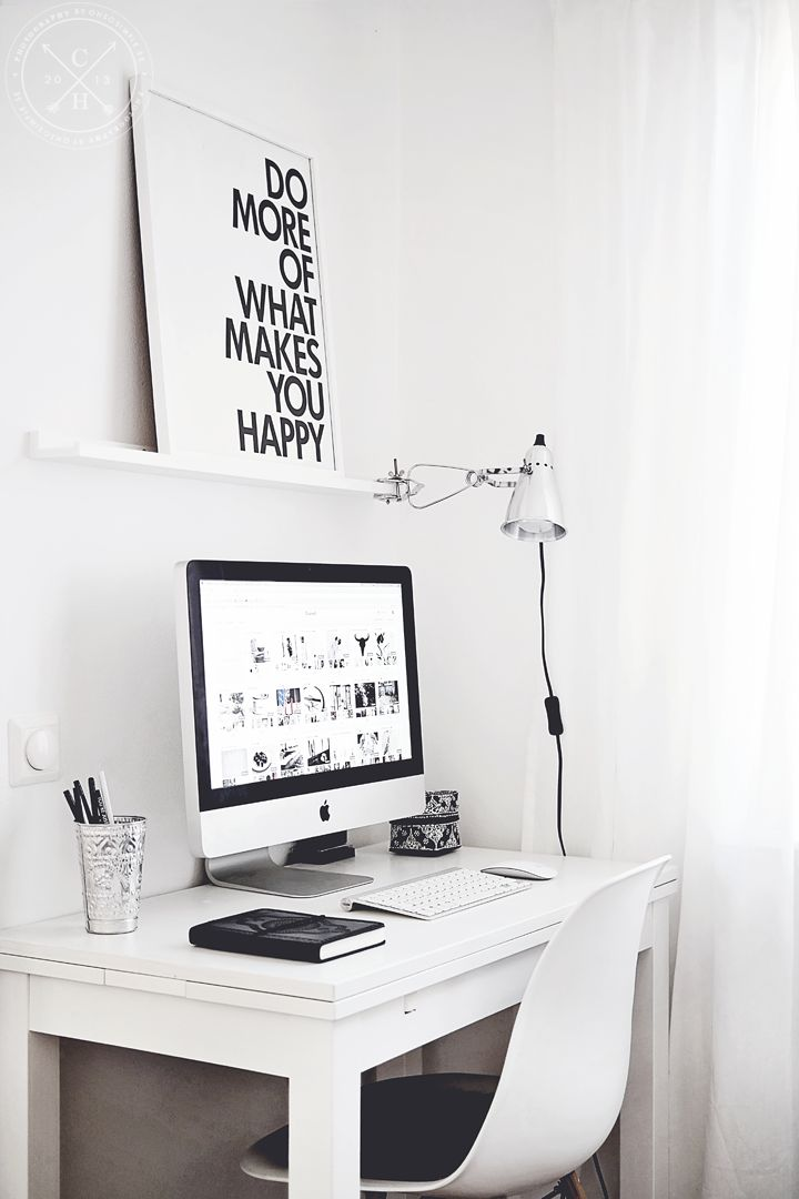 Pinning this for 3 reasons: love the poster, I like how the chair's curve echoes the curve of the monitor stand, and everyone should have a pen cup to corral their pens. Don't underestimate the small details! Interior Styling | Clamp Lamps