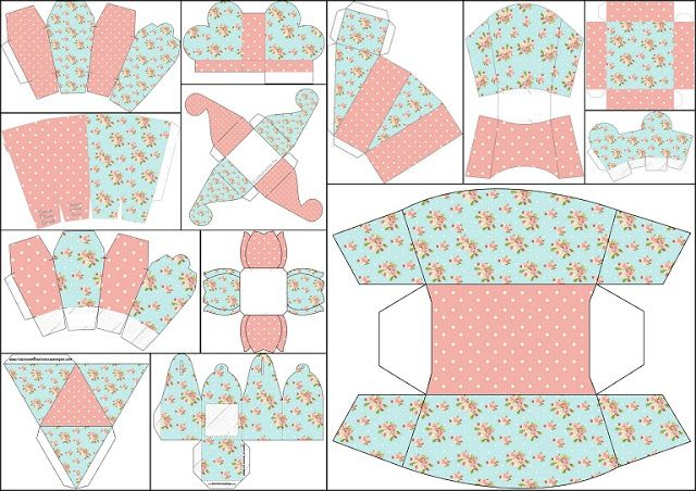 Shabby Chic in Pink and Light Blue: Free Printable Boxes.