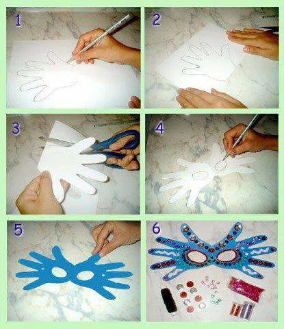 Mardi-gras - Masque en carton avec empreintes de main. Mask out of paperboard with prints of hand.