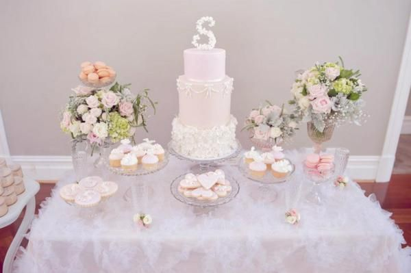 Vintage pink girl christening baptism party planning ideas for Baby girl baptism decoration ideas