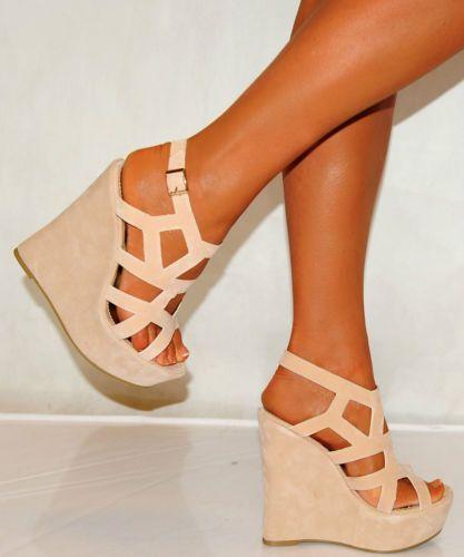 Women Nude Beige Tan Suede Wedges Wedges Summer Strappy Platforms High Heels | eBay $42 Loooove these!