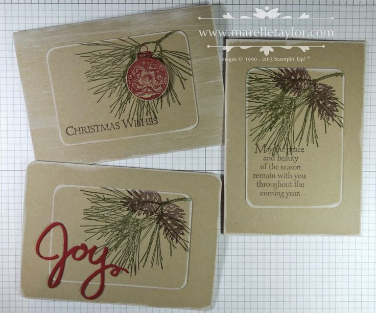 Stampin' Up! ... trio of Christmas cards ... kraft base with stamped pinbranch ... central background of rounded corner rectangle ... luv the country look!