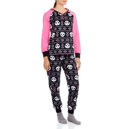 Faded Glory Women's and Women's Plus Hooded Fleece PJ Set - Walmart.com
