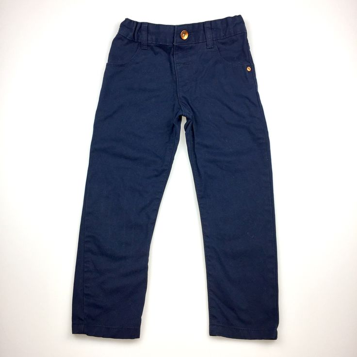 M&S (Marks & Spencer), navy cotton pants with adjustable waist, excellent pre-loved condition (EUC), boy's size 3-4, $11
