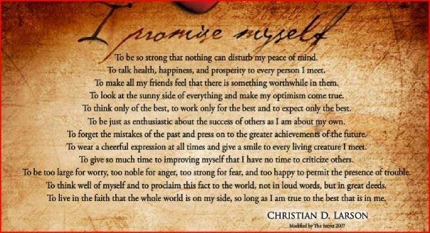 I Promise Myself by Christian D. Larson