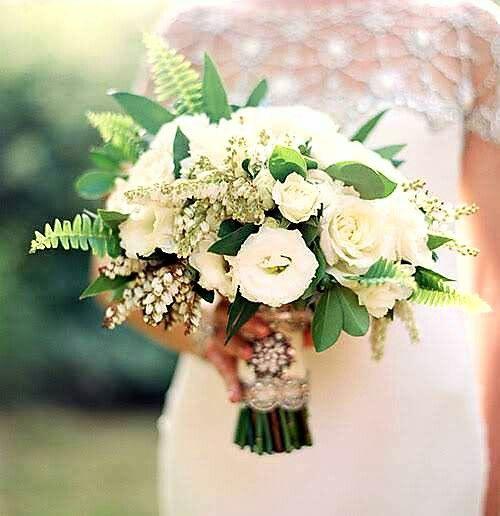 Glamorous Bride's Bouquet Comprised Of: White Lisianthus, White Roses, White Andromeda, Green Sword Fern & Green Seeded Eucalyptus