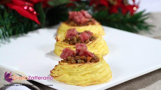 nidi di patate con lenticchie e cotechino