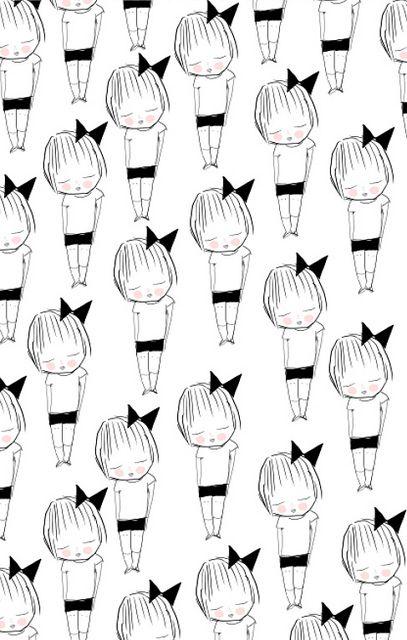girls by ashley g cute kawaii childrens cartoon illustration simple repeat pattern art print
