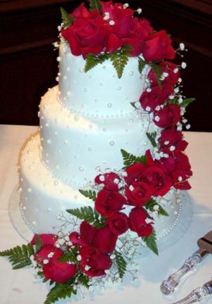 Wedding Cake with Red Roses-any color or any flower-maybe not so many?