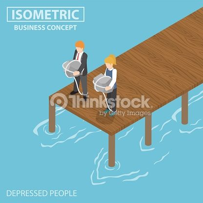 Vector Art : Isometric depressed businessman with rock and rope thinking of s