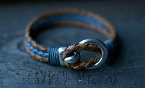 Mens Leather Bracelet ,Leather bracelets, Men Bracelets, Braid Leather Bracelet, Leather Cuff Bracelet, Boho Men Bracelets, Cool MEns Jewelry, Cool MEns Bracelets,by CandiedBohemian