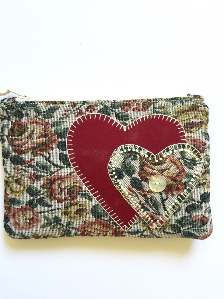 Clutch Purse Rose Tapestry with Applique Hearts and Button by EverSewNice on Etsy
