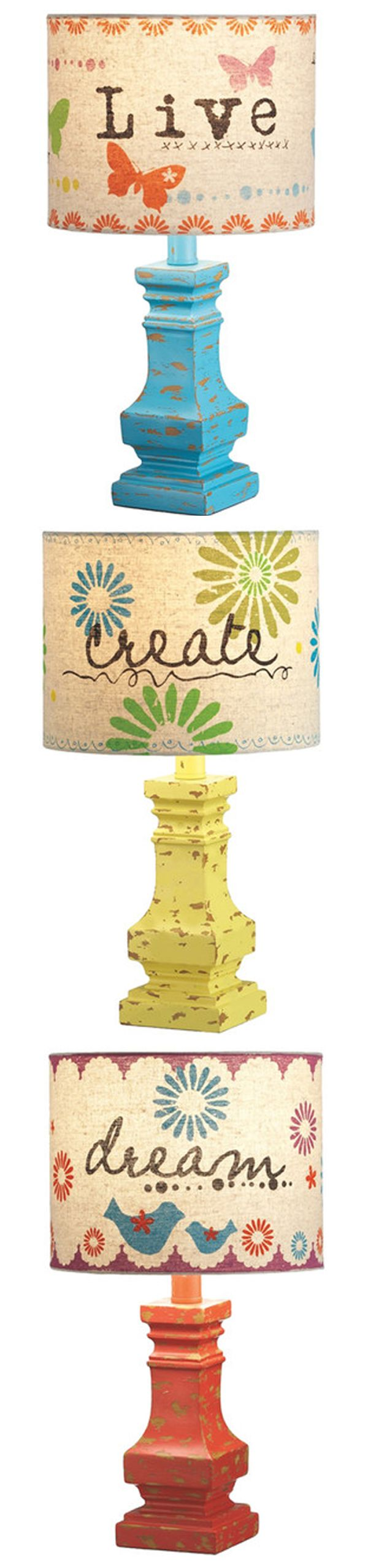 Adorable and Eclectic Lamps! #live #create #dream #quote