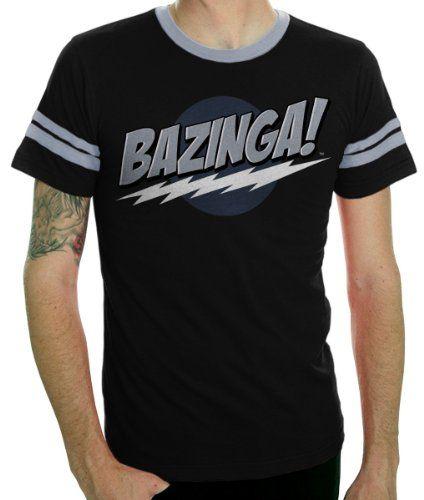 The Big Bang Theory Bazinga! Black Adult T-shirt with Stripes (Adult Medium) @ niftywarehouse.com #NiftyWarehouse #BigBangTheory #TV #Show #BigBangTheoryShow #BigBangTheoryTVShow #Comedy