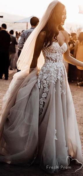 Charming A-Line Sweetehart Tulle Floor Length Wedding Dresses With Appliques,FPWD145