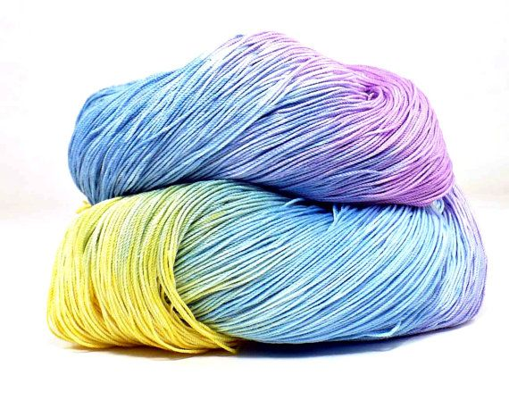 300 Yards Hand Dyed Cotton Crochet Thread Size 10 3 Ply Specialty Thread Yellow Purple Blue Lavender Hand Painted Fine Cotton Yarn on Etsy, $9.00