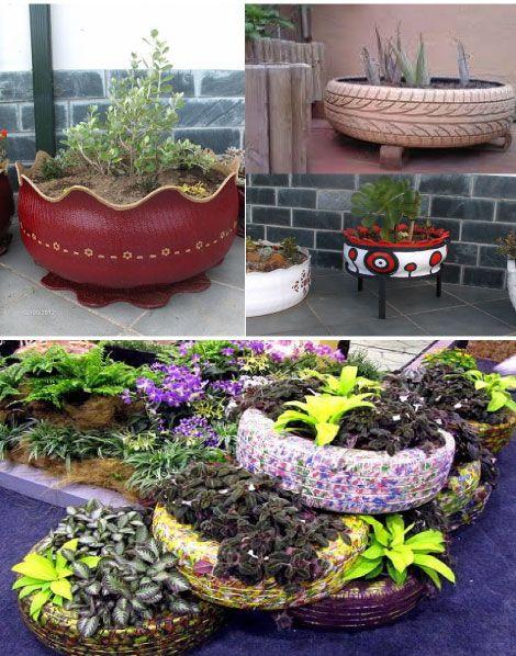 1000 ideas sobre reciclaje de llantas usadas en pinterest for Decoracion de jardin con llantas