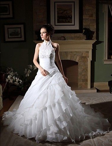 Beautiful Ball Gown Halter Satin and Organza Chapel Train #Wedding Dress WBG08588-LT