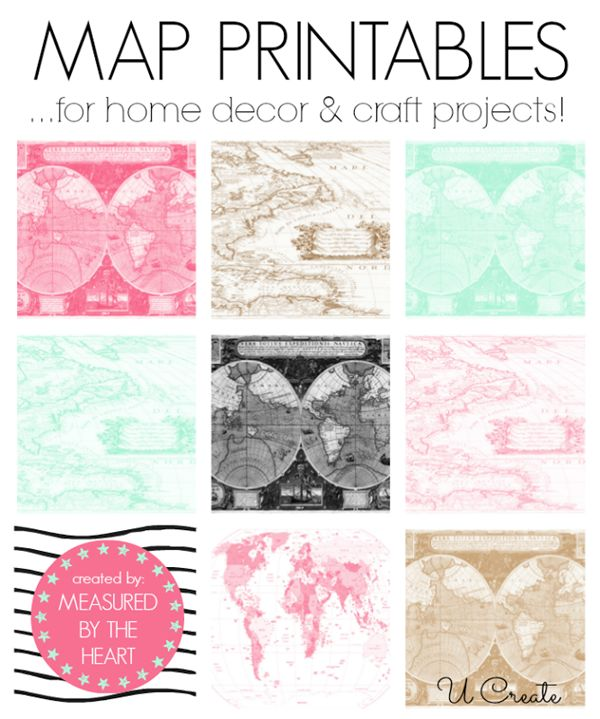 Free Map Printables from Measured by the Heart (12 to choose from!) | U Create