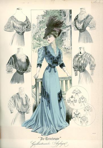 De Gracieuse 1908. Demonstração da variedade de alterações que podiam ser feitas nos vestidos da belle époque