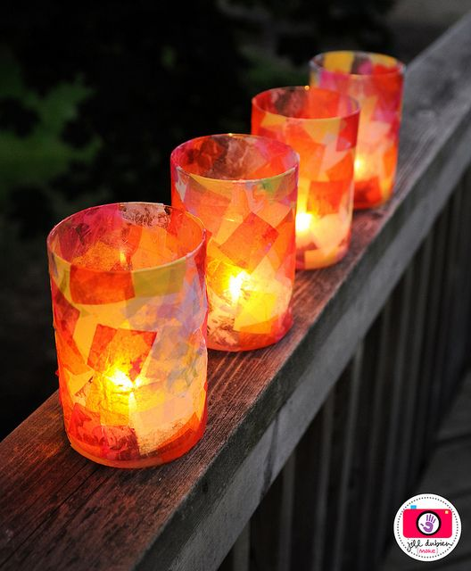 summer lantern for the kids to make - cheap glass vase, tissue paper, glue, paint brush...