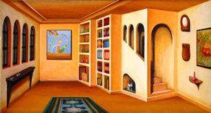 Biblioteca antigua - Oleo y madera 4D
