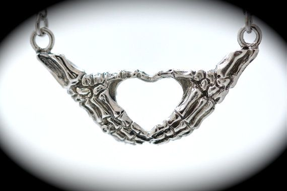 silver skeleton hands making an I heart you sign by billyblue22, $45.00