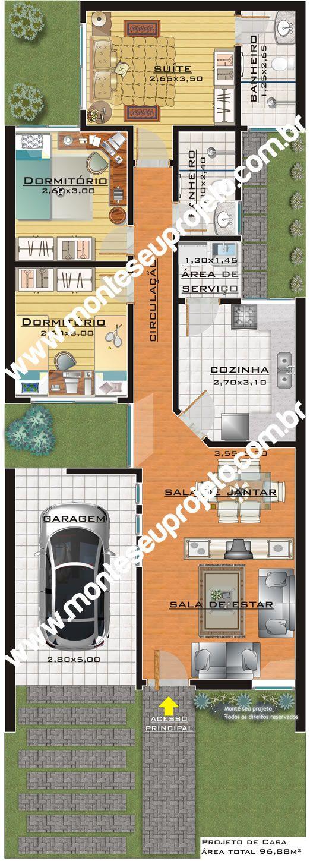 Projeto de casa pronto com 96 m² para terreno de 7 metros por 20 de fundo - Monte seu Projeto