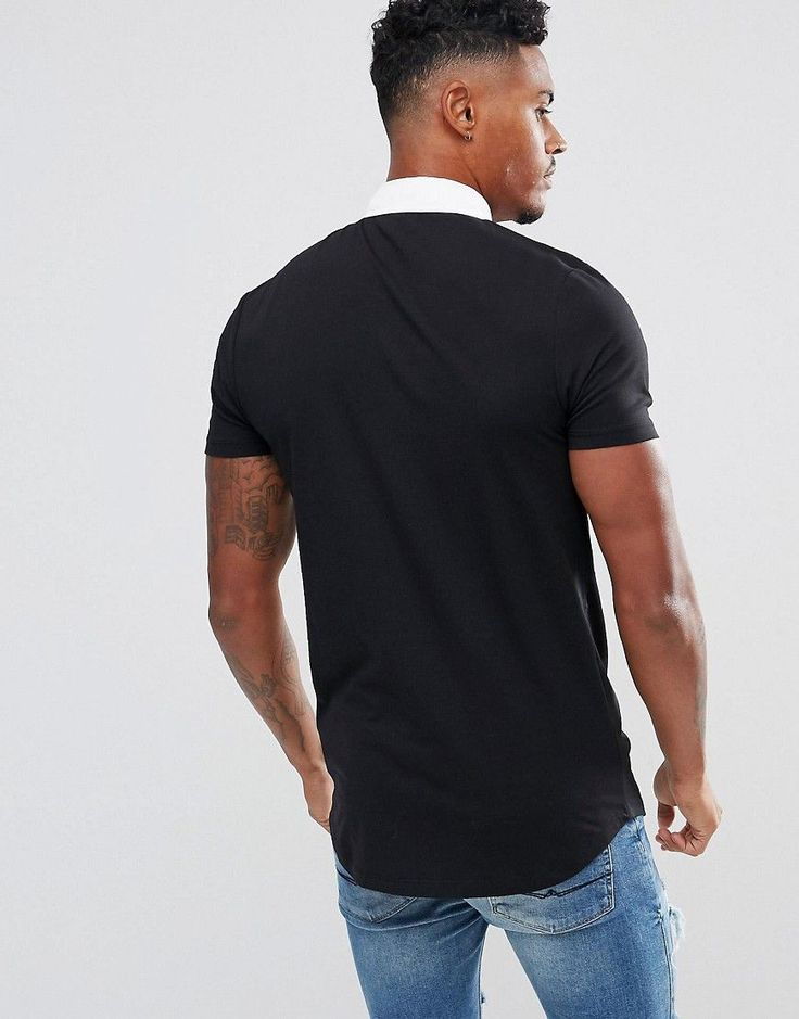 ASOS Longline Muscle Rugby Polo Shirt In Black With Curved Hem - Black