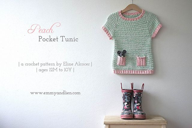 The Peach Pocket Tunic offers a modern, wearable take on crochet garments. Made in soft 8-ply (DK), it's a cute piece for any time of the year – wear on its own or with a layer underneath, team with pretty shoes or funky wellies. The possibilities are endless, making this a kiddie wardrobe staple!