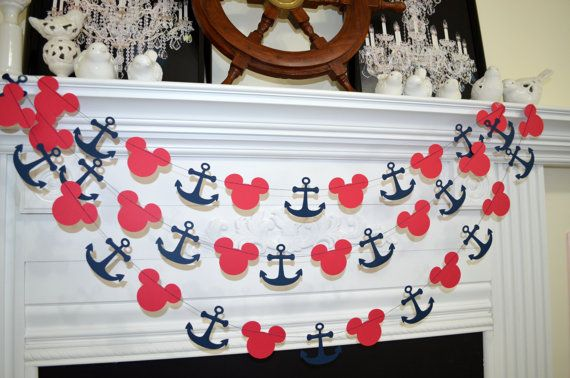 Nautical garland: This garland is made with card stock Mikey mouse silhouette done in red and the anchor in dark navy blue. Garland is sewn together with double sturdy THREAD. Measurements: Mickey silhouette: 2.8 x 2.2 Anchor: 2.7 x 2.5 Length of garland: 10 feet Garland can be made in any color. Color chart located in the last photo above. Please choose your colors and place in Note to seller box when checking out. Our banners and garlands are shipped via USPS First Class Mail. Thank ...