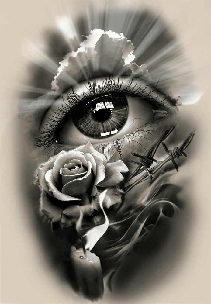 tattoo design realistic eye with rose and candle doom pinterest realistic eye tattoo. Black Bedroom Furniture Sets. Home Design Ideas