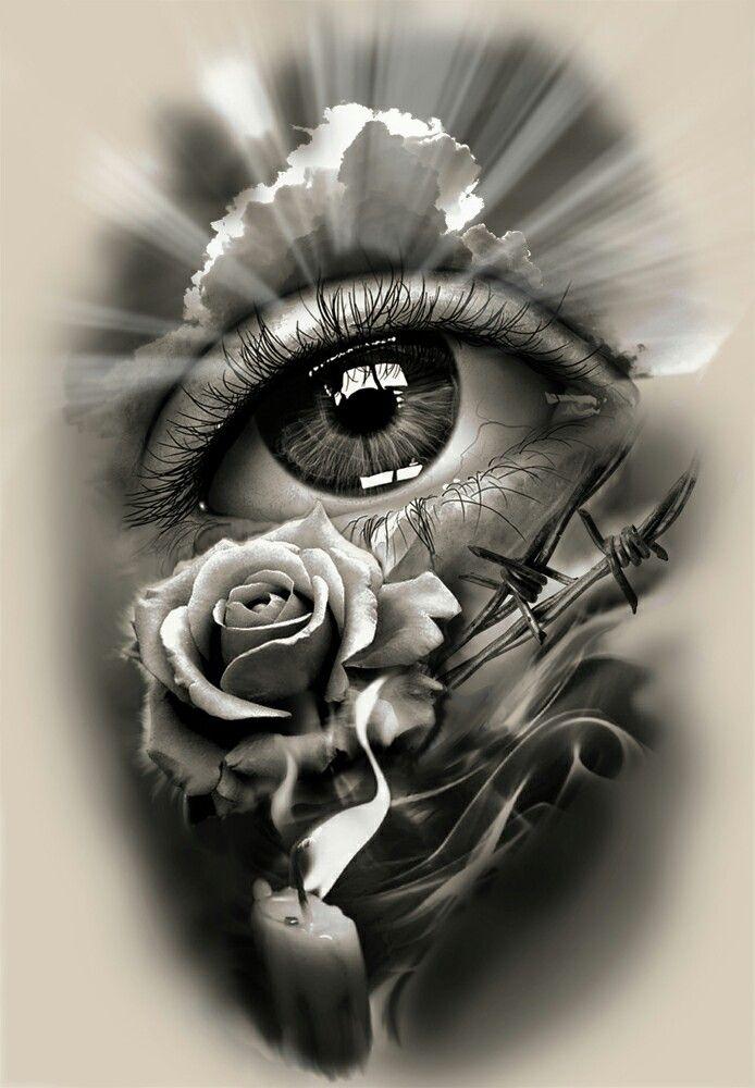 Tattoo Design, realistisches Auge mit Rose und Kerze.