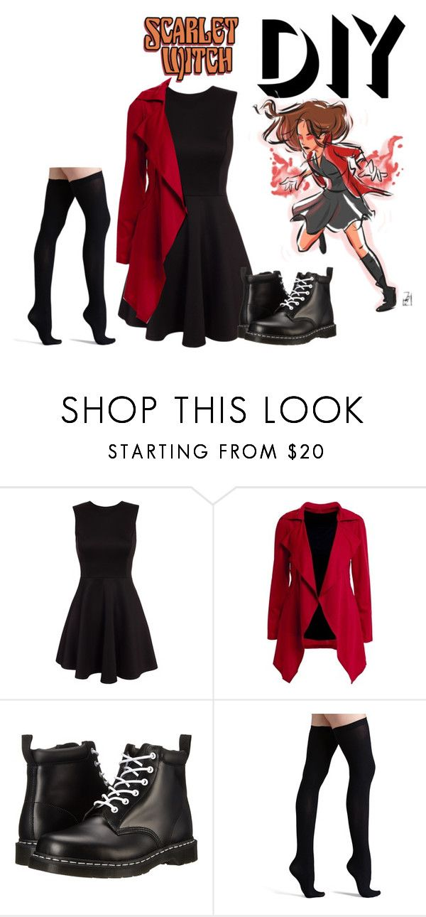 """DIY Halloween Costume: Scarlet Witch"" by brittanyrh ❤ liked on Polyvore featuring Dr. Martens, Commando, marvel, scarletwitch, halloweencostume and DIYHalloween"