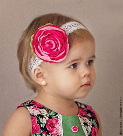 Повязка на голову для девочки - розовый,цветочный,повязка на голову девочке