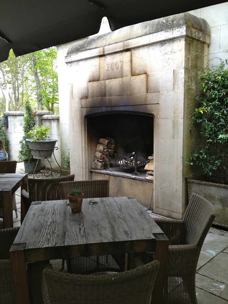 Great outdoor fireplace at @The_Pig_Hotel, Hampshire