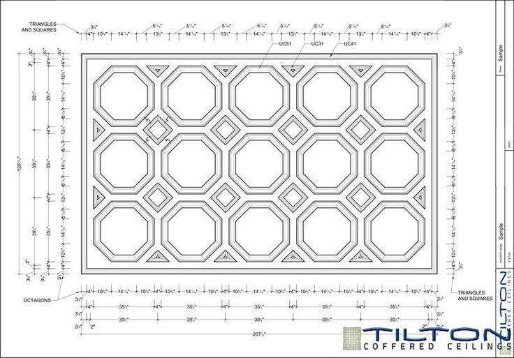 Coffered Ceiling Design Drawing - Octagonal 01