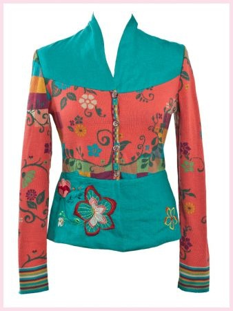 Ivko jacket with linen parts coral