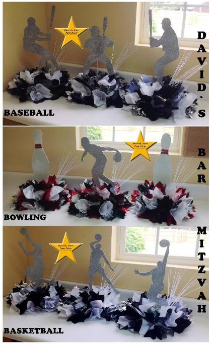 Sports theme Mitzvah centerpieces