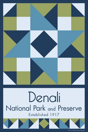 Denali National Park Quilt Block designed by Susan Davis. Susan is the owner of Olde America Antiques and American Quilt Blocks She has created unique quilt block designs to celebrate the National Park Service Centennial in 2016. These are the first quilt blocks designed specifically for America's national parks and are new to the quilting hobby.