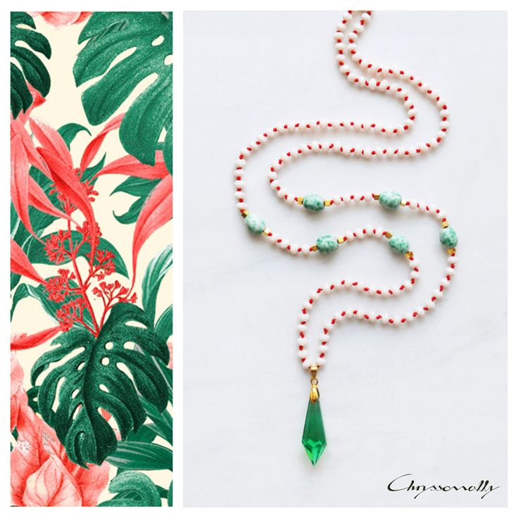 JEWELRY | Chryssomally || Art & Fashion Designer - Long boho luxe beaded necklace with emerald green crystal pendant, beige crystals and green gemstones on red cord