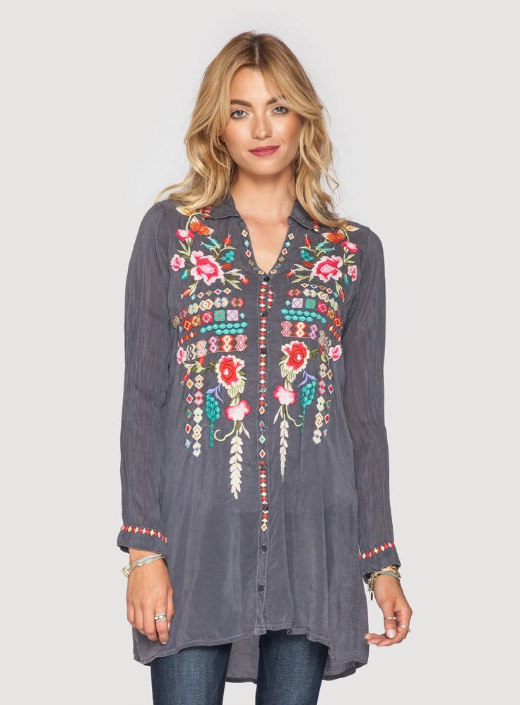 Johnny Was: Eyva Blouse Embroidery on an unexpected color