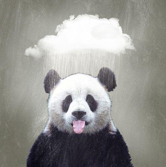 Panda Rain Art Print by Vin Zzep | Society6