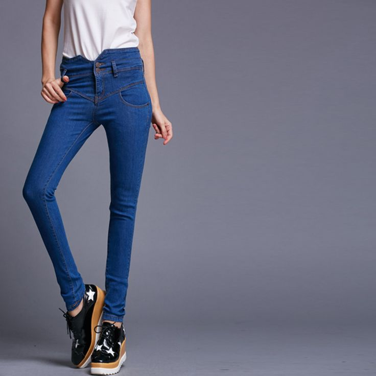 HOT!!New Fashion Autumn 2015 Women Jeans High Waisted Skinny Jeans Pants 3Colors Slim Hips Denim Pencil Jeans 26~32 - http://www.styliate.me/http://www.styliate.com/products/hotnew-fashion-autumn-2015-women-jeans-high-waisted-skinny-jeans-pants-3colors-slim-hips-denim-pencil-jeans-2632/
