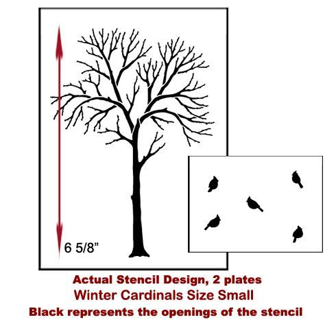 Winter Cardinals Stencil. Buy it here for only $7.95 http://www.cuttingedgestencils.com/cardinal-stencils.html?utm_source=JCG&utm_medium=Pinterest&utm_campaign=Winter%20Cardinals%20Stencil