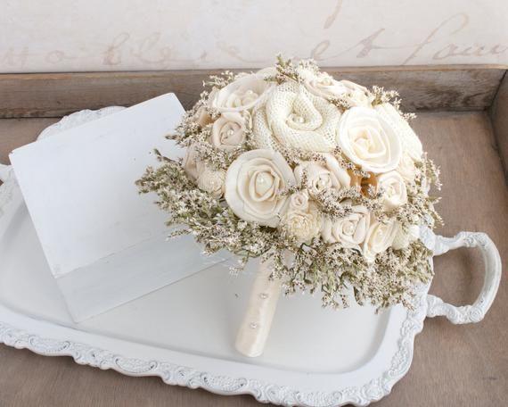 Rustic Wedding Bouquet Ivory Burlap Bridal Bouquet Burlap Etsy Ramos De Novia Ramos Novios